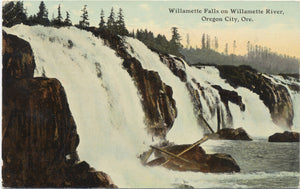 Oregon City Oregon Willamette Falls River Vintage Postcard 1912 - Vintage Postcard Boutique