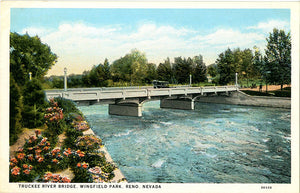Reno Nevada Truckee River Bridge Wingfield Park Vintage Postcard (unused)
