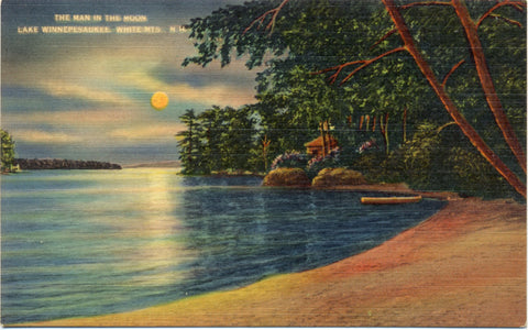 Lake Winnepesaukee in Moonlight White Mountains New Hampshire Vintage Postcard (unused) - Vintage Postcard Boutique