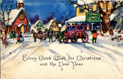Horse & Carriage Christmas Greetings Vintage Postcard Gibson Art - Vintage Postcard Boutique