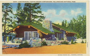 Lake Museum Yellowstone National Park - Fishing Bridge Campground Vintage Postcard (unused) - Vintage Postcard Boutique