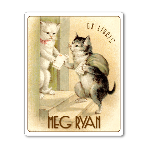 You've Got Mail, Kitty! Personalized Vintage Bookplates - CAT LOVER GIFT - Vintage Postcard Boutique