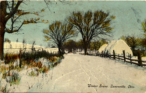 Zanesville Ohio Winter Farm Scene Vintage Postcard 1911