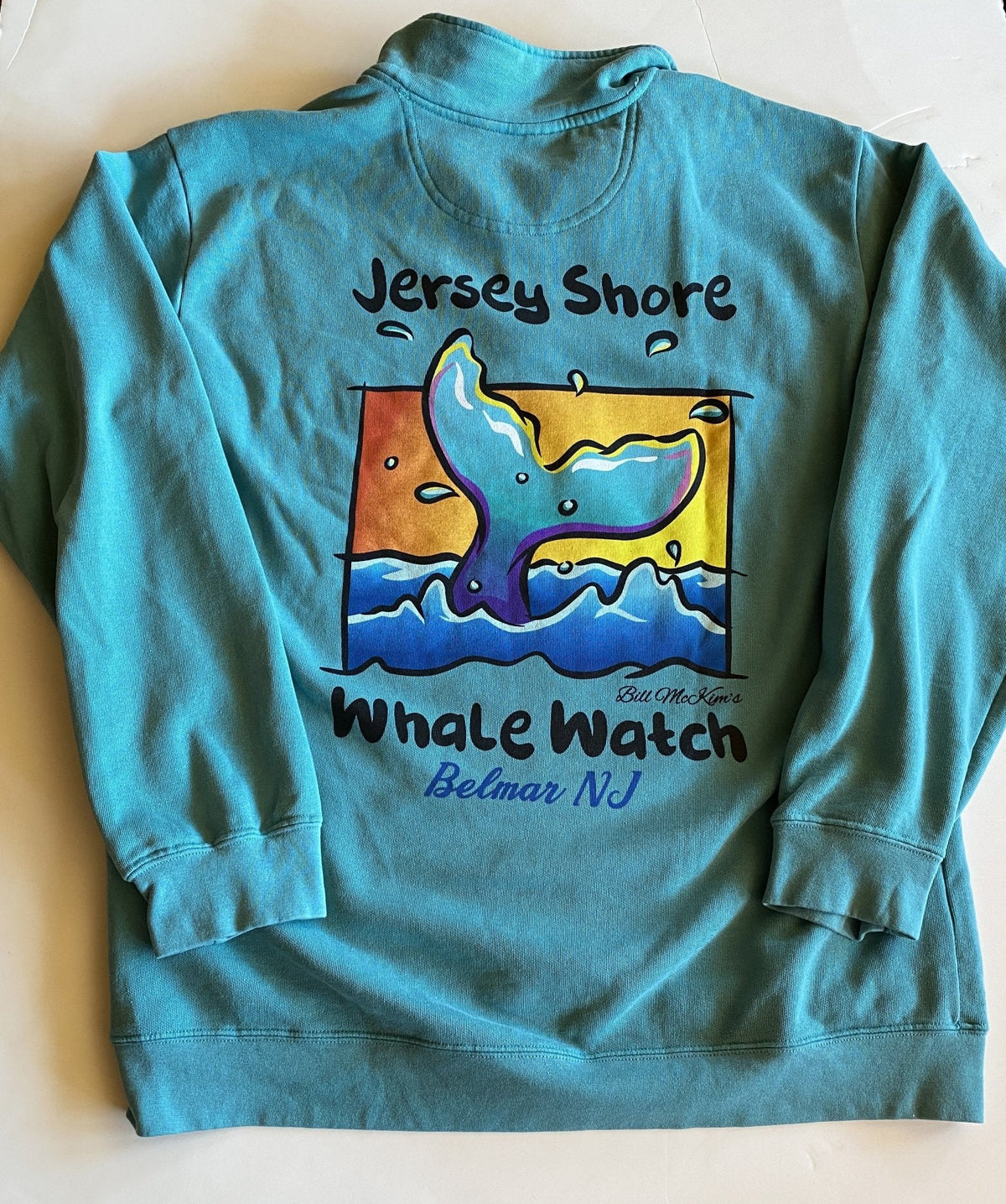 1/4 Zip Jersey Shore Whale Watch Heavyweight Sweatshirt - Bill McKim Photography -Jersey Shore whale watch tours