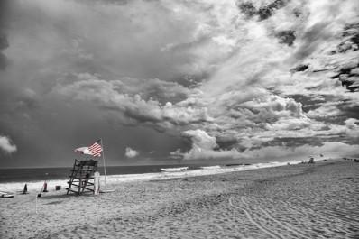 American Flag Lifeguard Stand Black & White - Bill McKim Photography -Jersey Shore whale watch tours