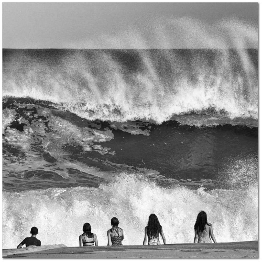 Beach Kids Big Wave Belmar - Bill McKim Photography -Jersey Shore whale watch tours