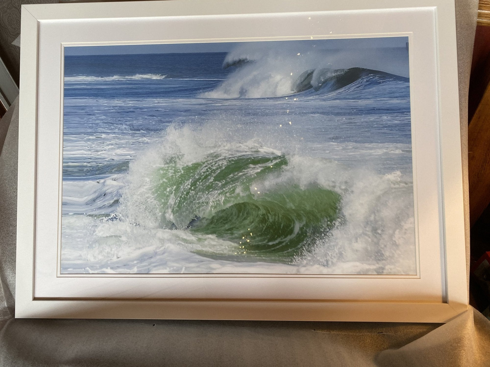 Belmar Emerald Wave Framed 20 x 30 print White frame Framed Fine Art - Bill McKim Photography -Jersey Shore whale watch tours