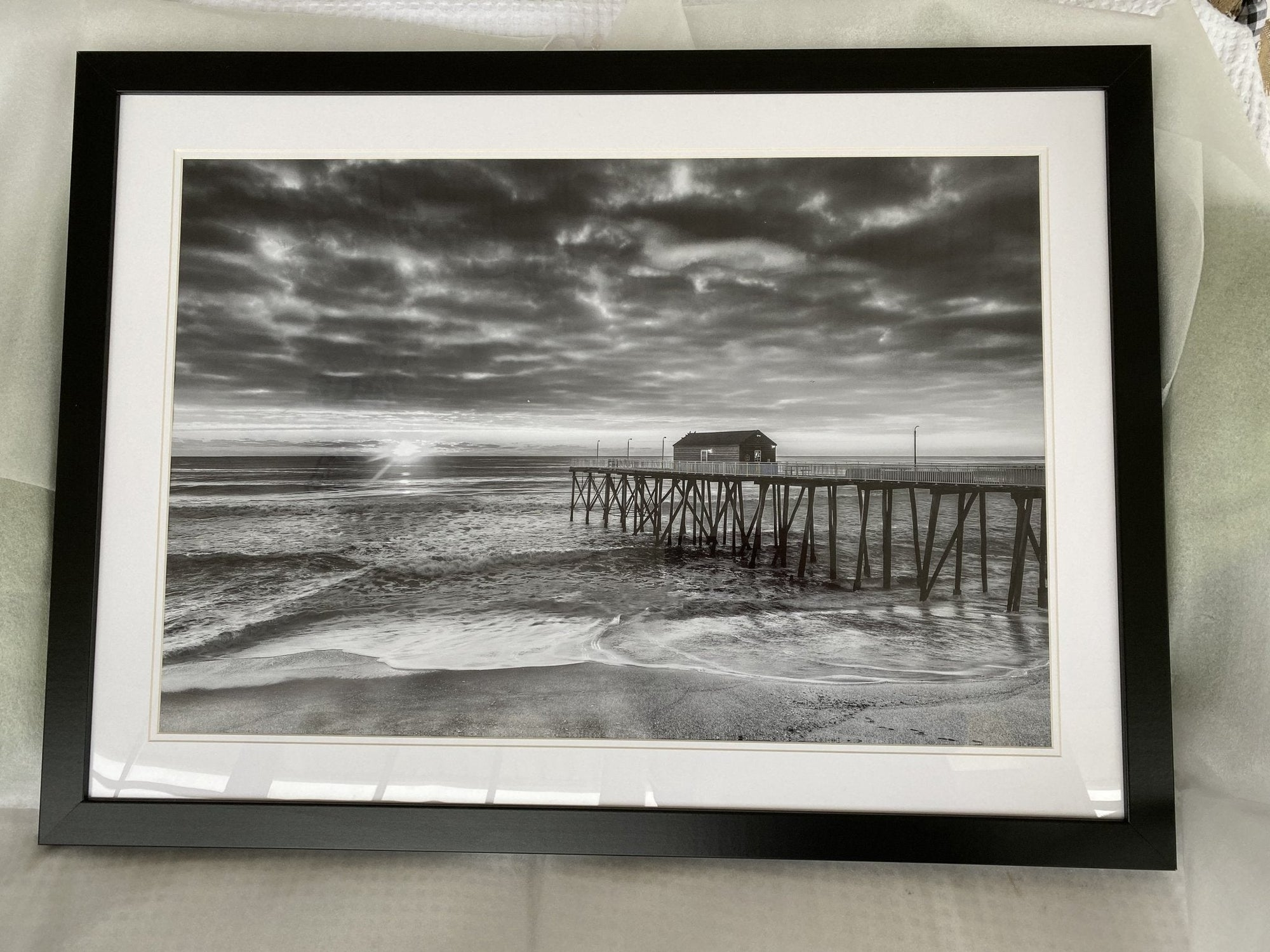 Belmar Fishing Pier sunrise Black & White 37 x 24 Black Frame - Bill McKim Photography -Jersey Shore whale watch tours