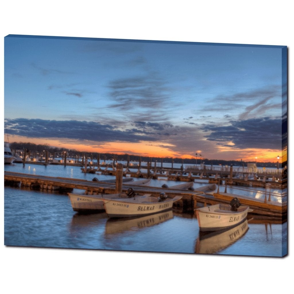 Belmar Marina Blue Sky sunset Canvas Gallery Wrap - Bill McKim Photography -Jersey Shore whale watch tours