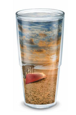 Pier Beach  24 oz Travel Mug with lid - Bill McKim artwork Photography Jersey shore wallart