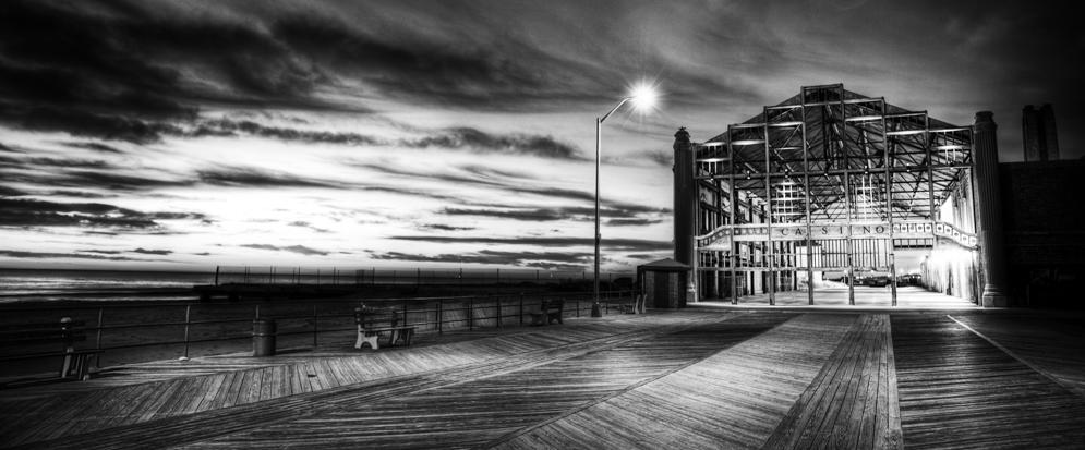 Darkness on the edge of Town Asbury Park Casino 37 x 24 Black Frame - Bill McKim Photography -Jersey Shore whale watch tours