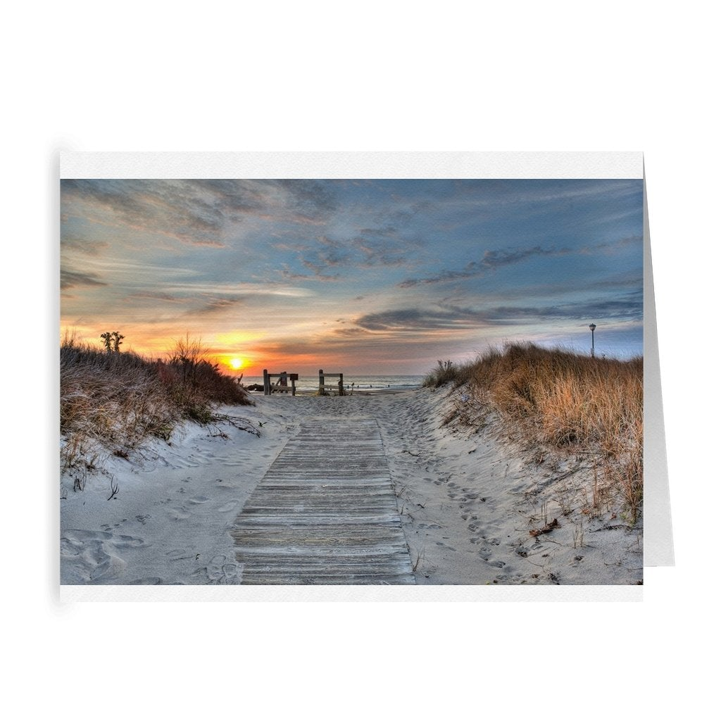 Folded Cards 5 Pack Wooden path to beach - Bill McKim Photography -Jersey Shore whale watch tours