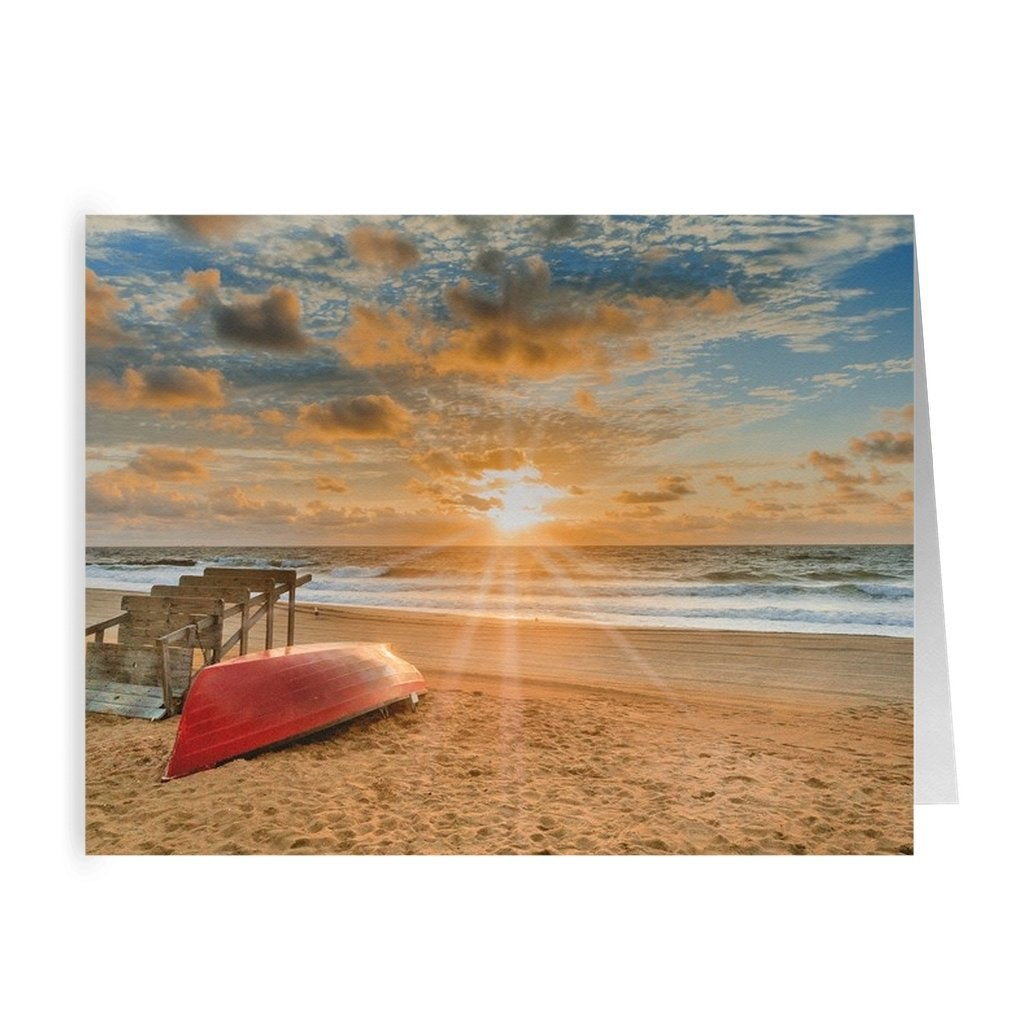 Folded Cards Lifeguard Sunrise - Bill McKim Photography -Jersey Shore whale watch tours