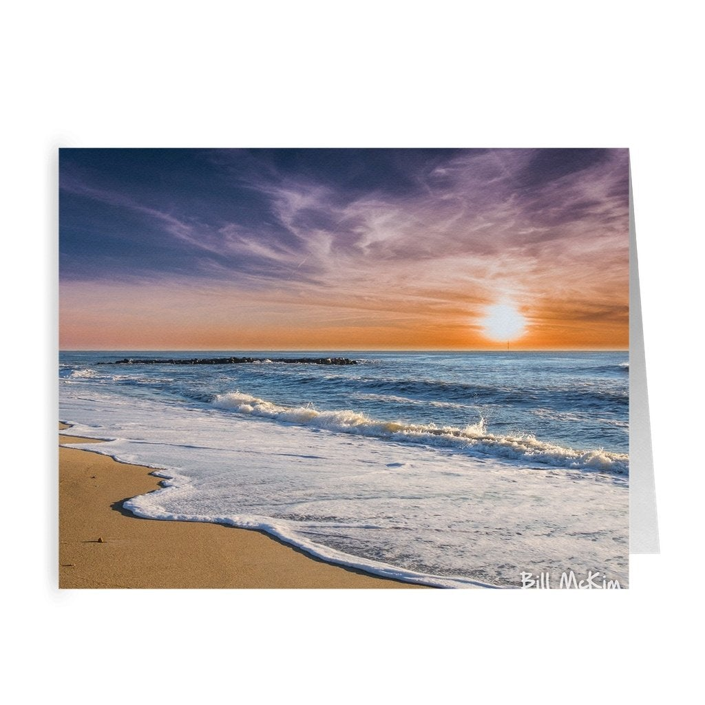 Folded Note Cards Beach Sunrise - Bill McKim Photography -Jersey Shore whale watch tours