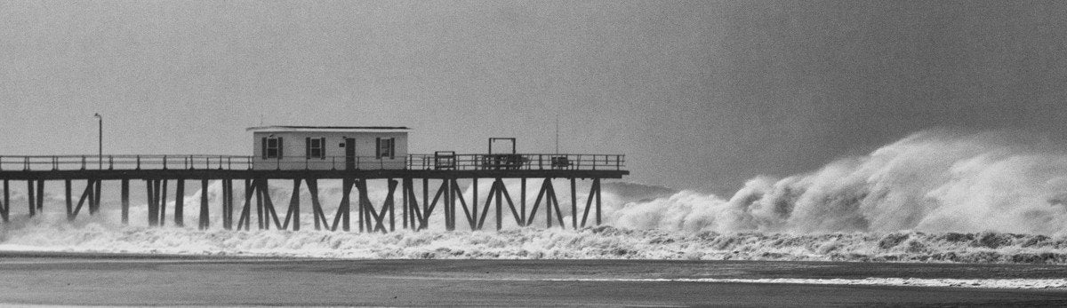 Hurricane Sandy Belmar Fishing Pier 16 x 48 canvas wall print - Bill McKim Photography -Jersey Shore whale watch tours