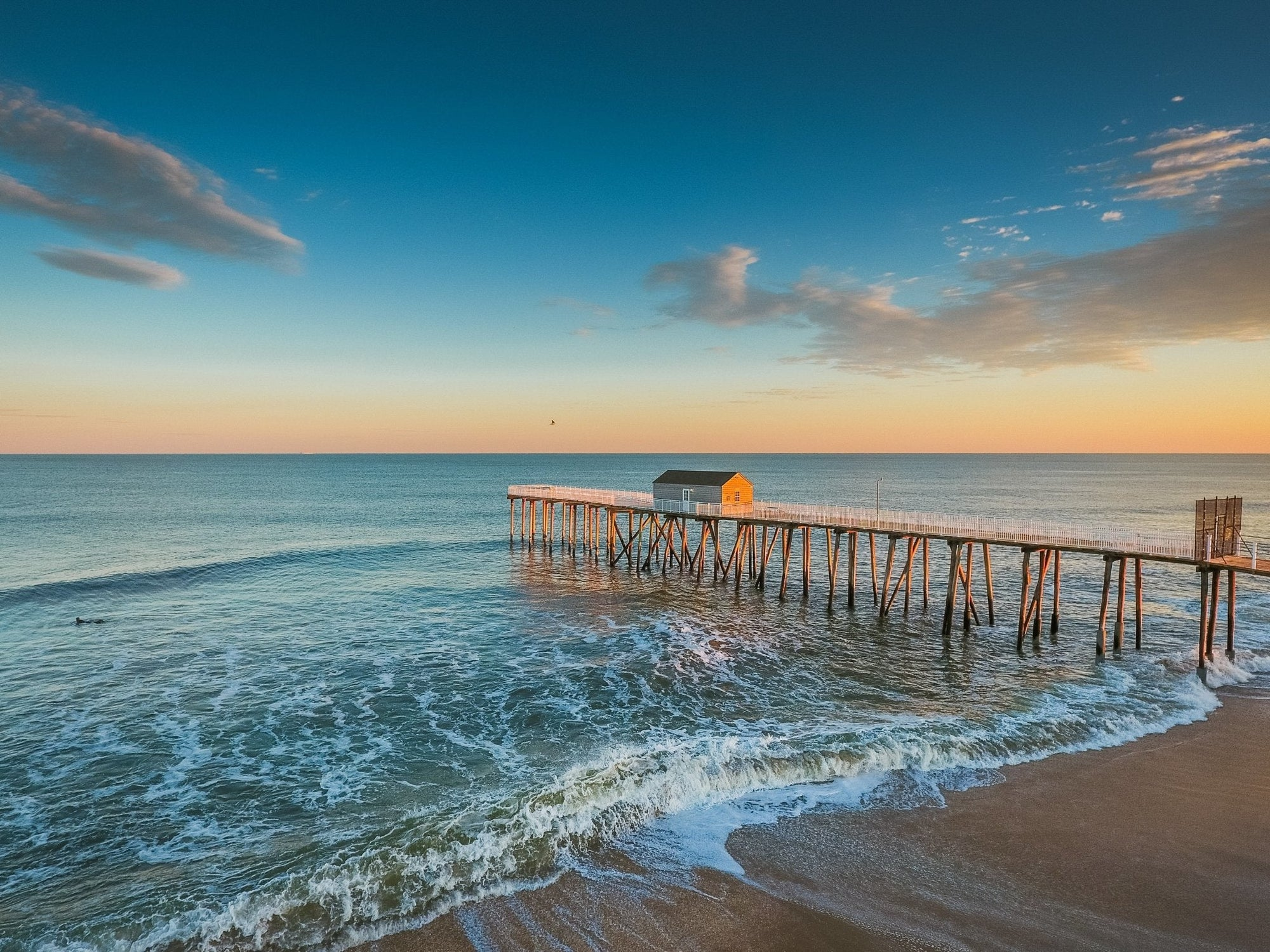 In Stock Belmar Fishing Pier 22 19 Matted and Framed in White - Bill McKim Photography -Jersey Shore whale watch tours