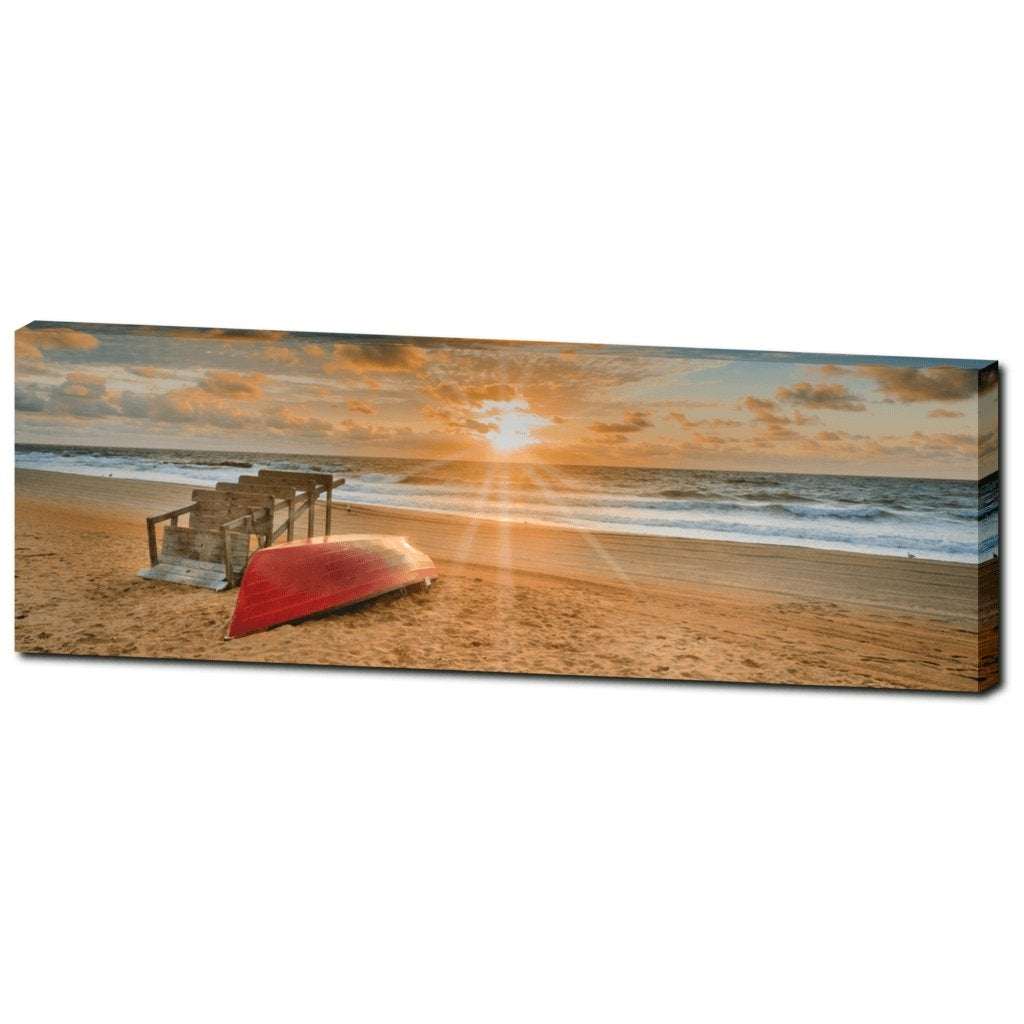 Jersey Lifeguard Chair Sunrise Canvas Gallery Wrap - Bill McKim Photography -Jersey Shore whale watch tours