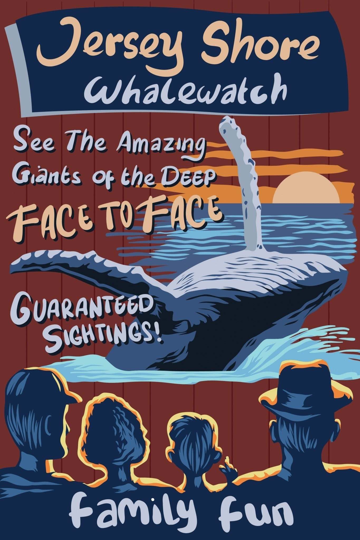 Jersey Shore Whale Watch Poster Retro - Bill McKim Photography -Jersey Shore whale watch tours