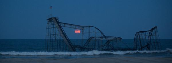 Jet Star Roller Coaster Full Moon Seaside Heights NJ - Bill McKim Photography -Jersey Shore whale watch tours