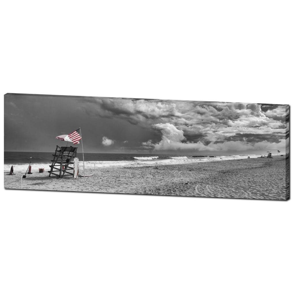 Lifeguards & American Flag Vintage Jersey shore Photograph - Bill McKim Photography -Jersey Shore whale watch tours