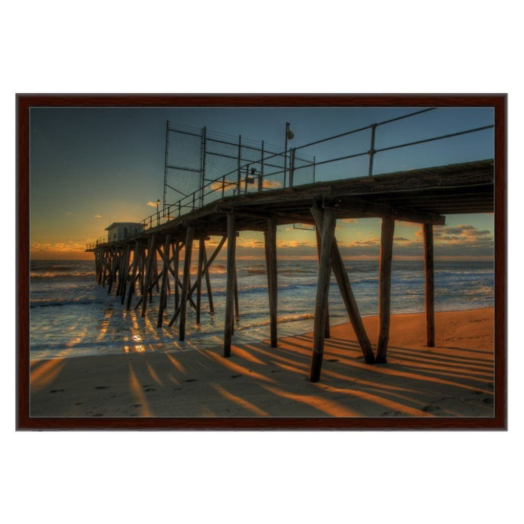 Long Shadows Fishing Pier Belmar NJ Walnut Frame - Bill McKim Photography -Jersey Shore whale watch tours