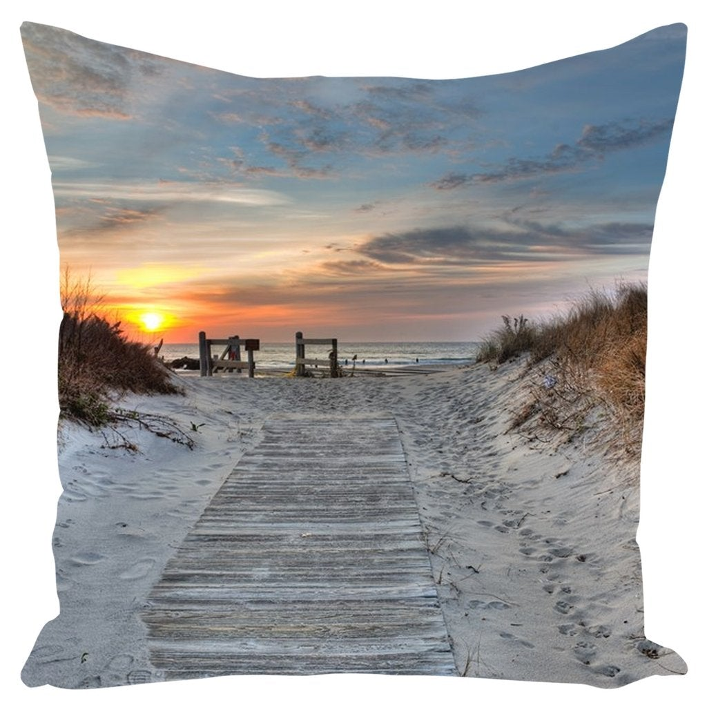 Outdoor Pillows Spring Lkae Beach Entrance Before Sandy - Bill McKim Photography -Jersey Shore whale watch tours