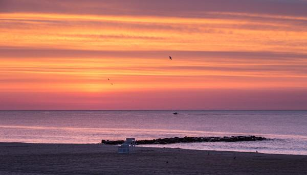 Sherbert Sunrise | Jersey Shore lifeguard chair - Bill McKim Photography -Jersey Shore whale watch tours