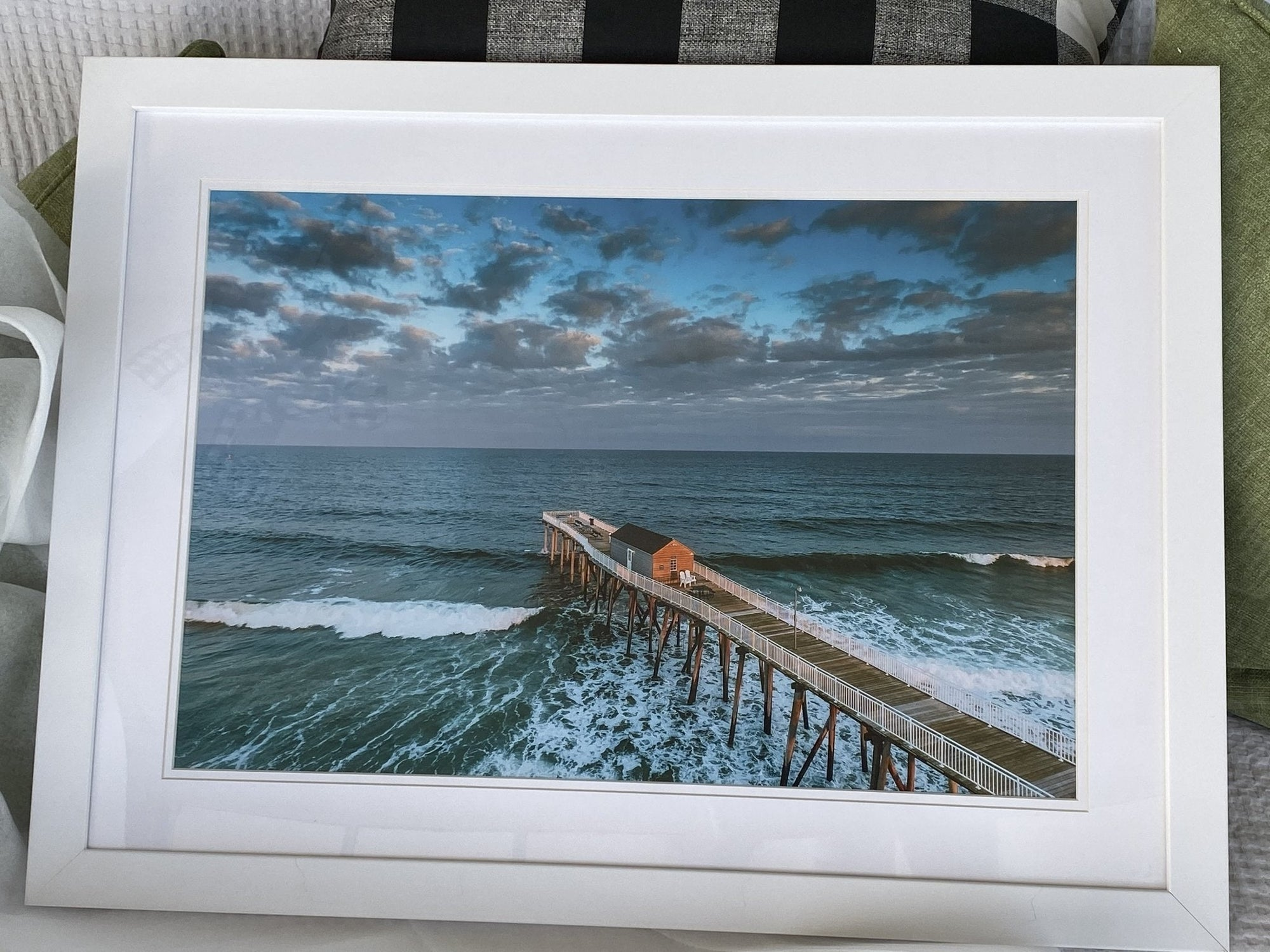 Sunrise Colors Belmar Fishing Pier sunrise 37 x 24 White Frame - Bill McKim Photography -Jersey Shore whale watch tours