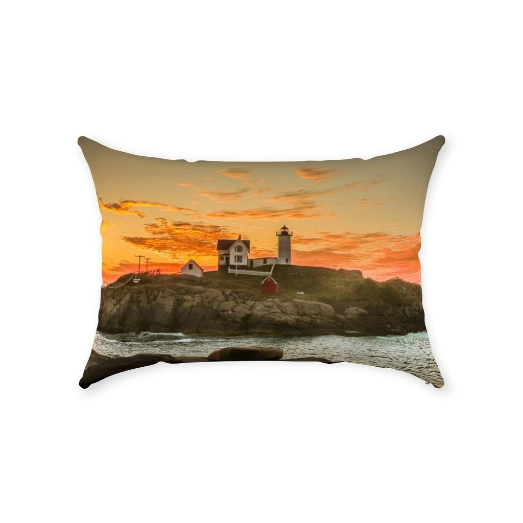 Throw Pillow Nubble Lighthouse - Bill McKim Photography -Jersey Shore whale watch tours