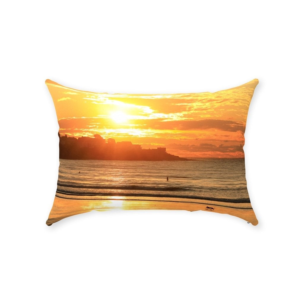 Throw Pillow York Beach Maine Long Sand Sunrise - Bill McKim Photography -Jersey Shore whale watch tours