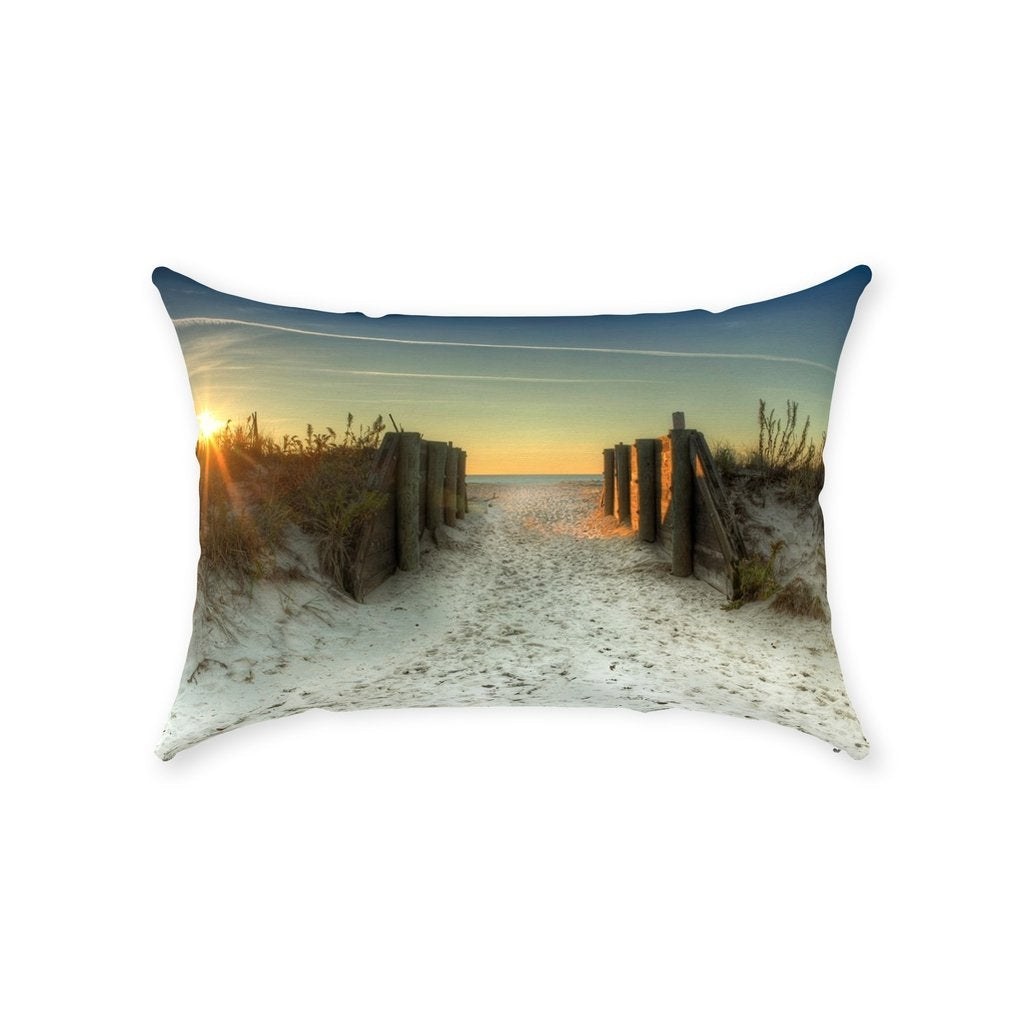 Throw Pillows Pier Beach Spring Lake NJ - Bill McKim Photography -Jersey Shore whale watch tours