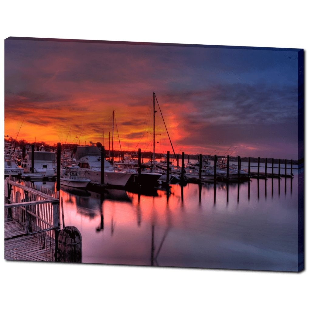 Vintage Belmar Marina Sunset Canvas Gallery Wrap - Bill McKim Photography -Jersey Shore whale watch tours