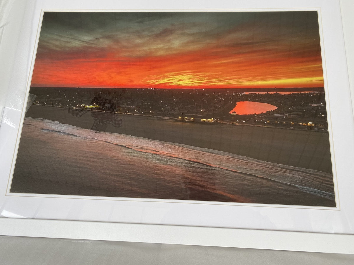 White Framed Silver Lake sunset Taylor Pavillon 37 x 24 Black Frame - Bill McKim Photography -Jersey Shore whale watch tours
