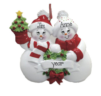SNOWMAN COUPLE w/ TREE~Personalized Christmas Ornament