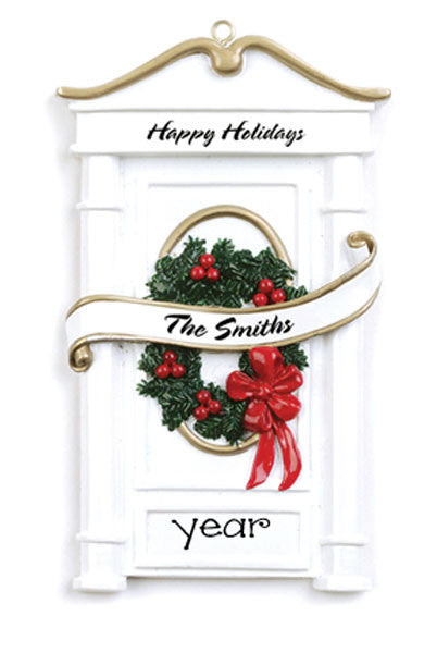 WHITE DOOR w/GREEN WREATH Personalized Ornament