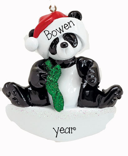 PANDA BEAR / PERSONALIZED CHRISTMAS ORNAMENT
