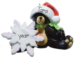 BLACK BEAR with SANTA HAT ORNAMENT, MY PERSONALIZED ORNAMENTS
