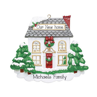 White house w/ Evergreen Trees - Ornament