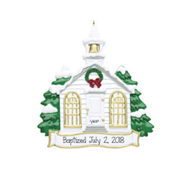 WHITE CHURCH WITH STEEPLE ORNAMENT / MY PERSONALIZED ORNAMENTS