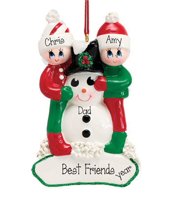 FRIENDS HUGGING A SNOWMAN Ornament