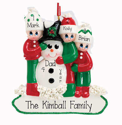 SINGLE PARENT WITH 3 KIDS hugging a snowman ORNAMENT / MY PERSONALIZED ORNAMENTS