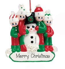 FAMILY OF 4 HUGGING SNOWMAN ORNAMENT, PERSONALIZED ORNAMENTS