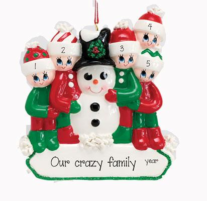BUILDING A SNOWMAN Family of 5 Ornament
