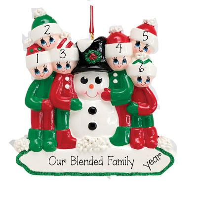BUILDING A SNOWMAN Family of 6 Ornament