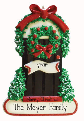 FRONT DOOR BLACK w/ CHRISTMAS WREATH Ornament