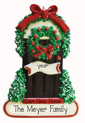 FRONT BLACK DOOR WITH CHRISTMA WREATH, OUR NEW HOME - my personalized ornaments