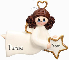 ANGEL W/ WINGS/BRUNETTE FEMALE, MY PERSONALIZED ORNAMENTS/CHRISTMAS ORNAMENTS