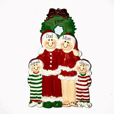 CHRISTMAS EVE FAMILY OF 4 ORNAMENT, MY PERSONALIZED ORNAMENT