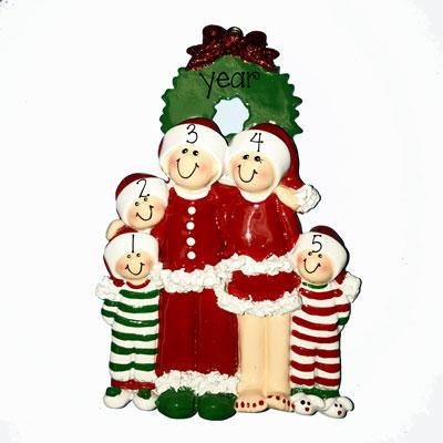 CHRISTMAS EVE FAMILY OF 5 ORNAMENT