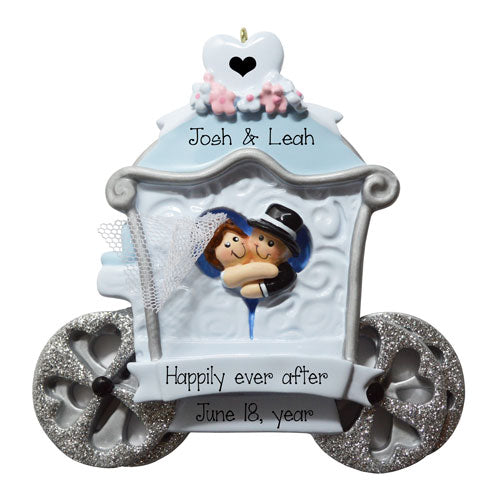 JUST MARRIED IN WEDDING CARRIAGE Ornament